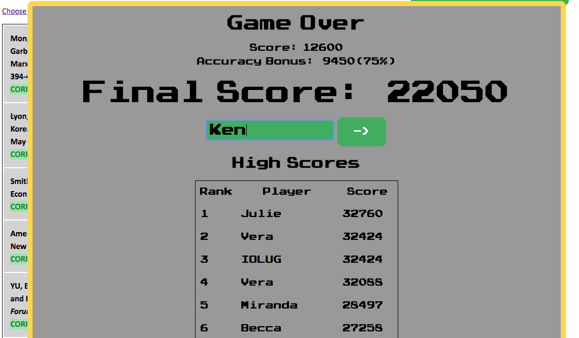 Sort Tetris Game Over Screen showing high scores.