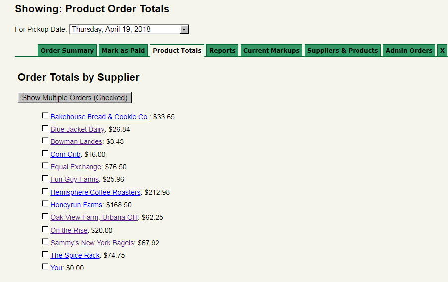 Screenshot of Administrative view of supplier order totals