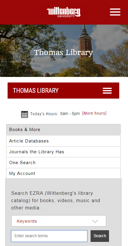 Screenshot of Library Main Page - Mobile View