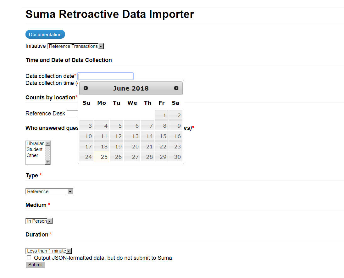 Screenshot of Suma Retroactive Data Importer, allowing the user to submit details of a space usage or reference transaction for a time other than right now.